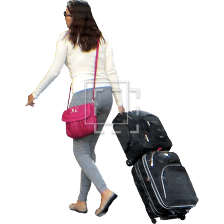 A Woman With Rolling Cart Luggage Immediate Entourage