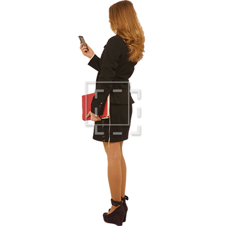 business woman holding a cell phone immediate entourage