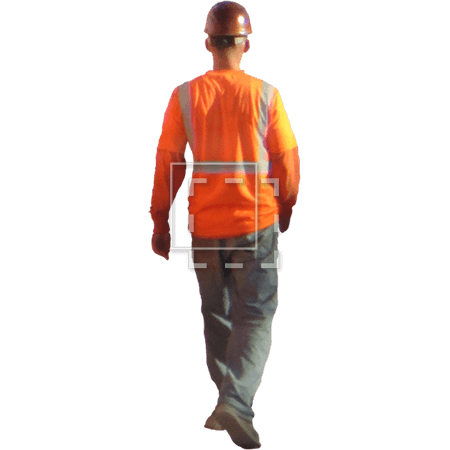A Cutout Photo Of Construction Worker Walking Away In An Orange Safety Vest And Red Hard Hat