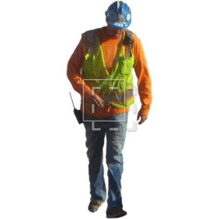A Cutout Construction Worker In Brightly Colored Vest And Hardhat