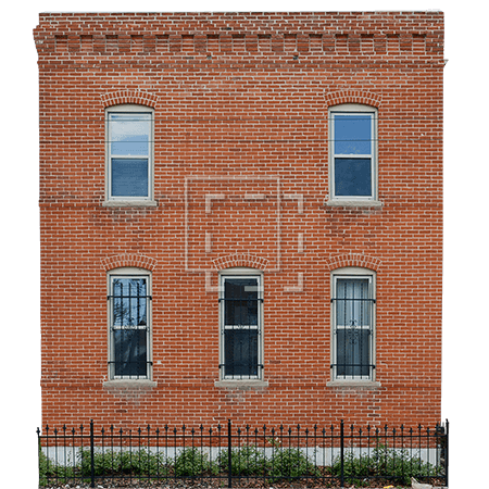 A Small 20th Century Brick Building With Five Windows The Door Must Be On Side