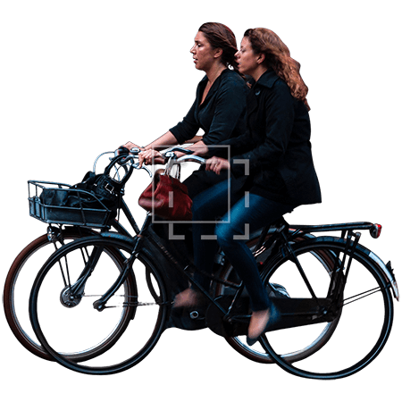 Two Women on Bikes