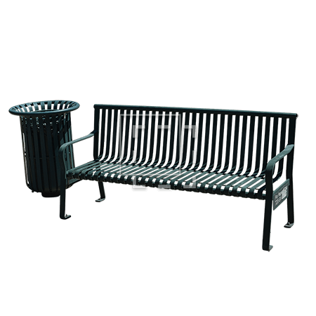 Park Bench and Trash Can