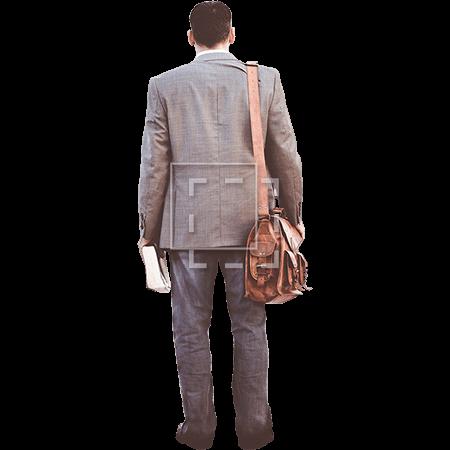 Man walking away looking backward