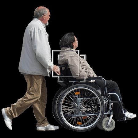 man pushing woman in wheelchair immediate entourage
